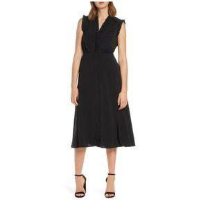 Vince Camuto Ruffle Detail Crepe A-Line Dress